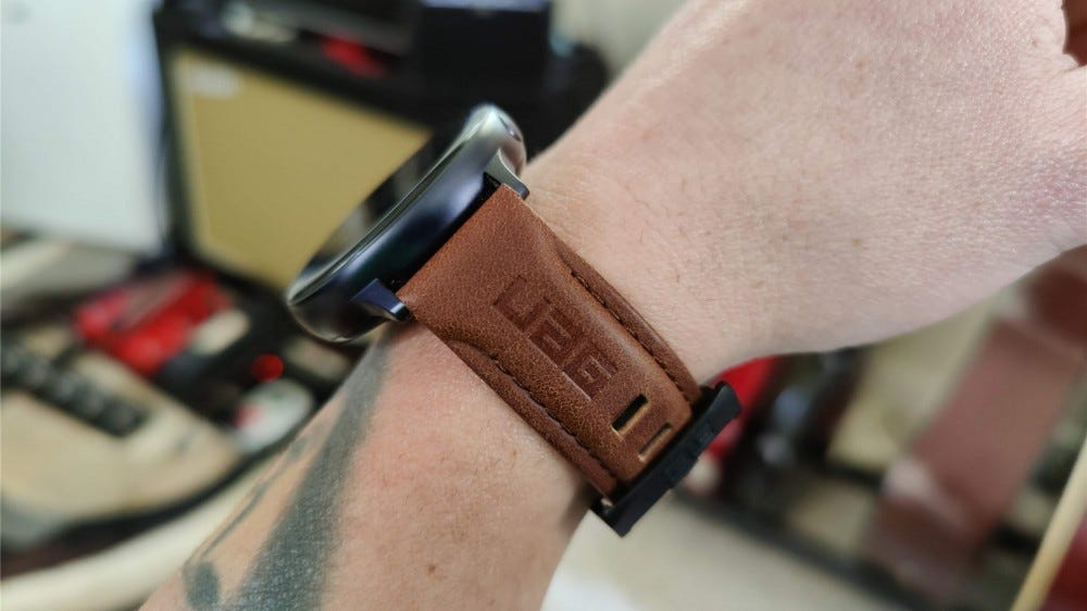 A side view of the UAG leather band