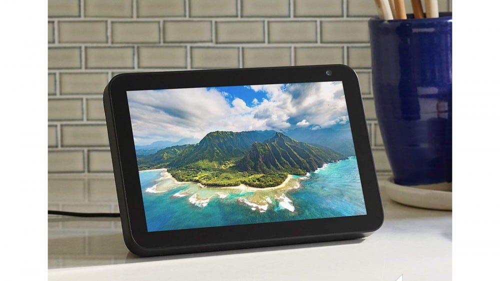 Amazon Echo Show 8 smart display set on modern countertop