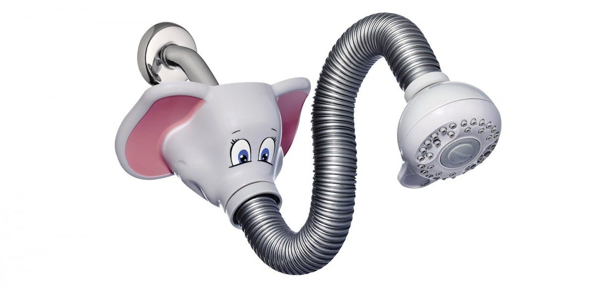 The Waterpik Safari Spray Elephant Shower Head.