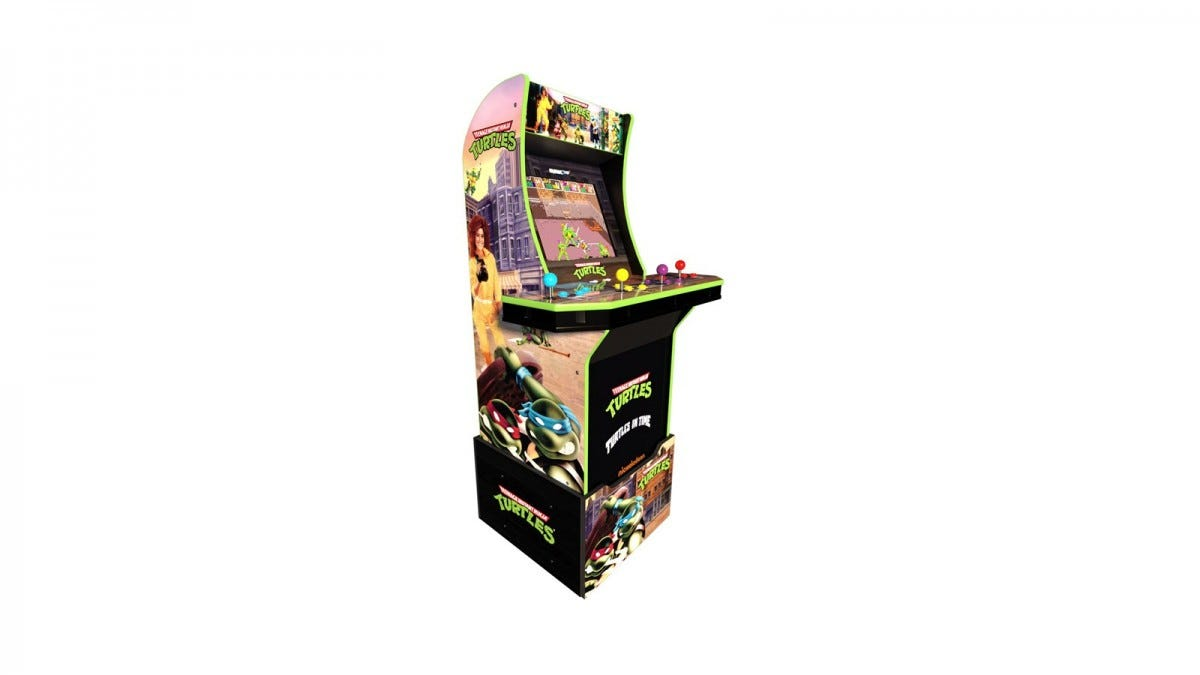 The Teenage Mutant Ninja Turtle arcade with four sets of joysticks and custom riser.
