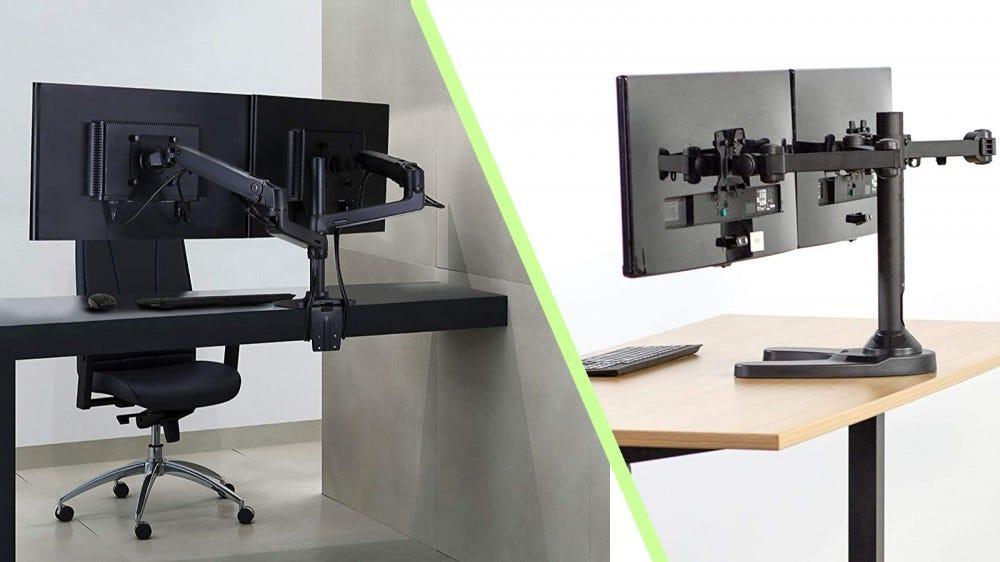 Ergotron LX kettős monitor állvány és VIVO szabadon álló kettős monitor állvány képek kollázsban