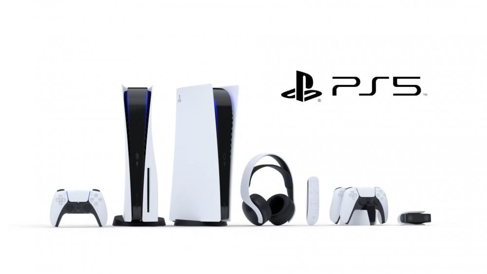 The Sony PS5 in disc and discless version, along with matching conrollers, headphones, camera, and media controller.