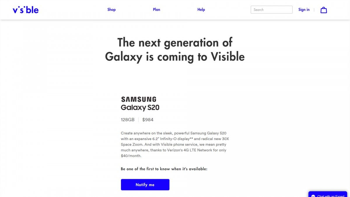 Visible Galaxy S20 Preorder Page