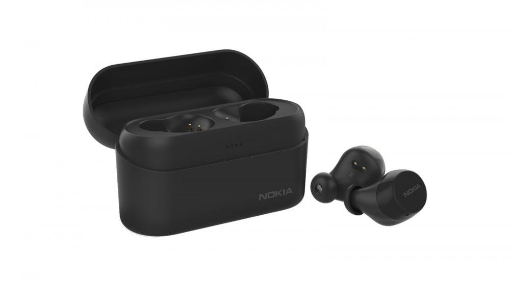 The Nokia Power Buds and case, in black.