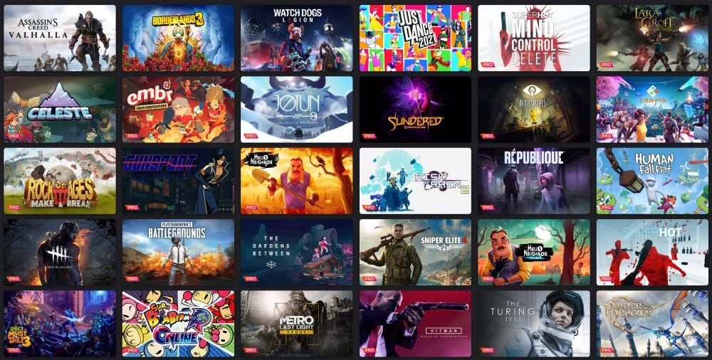 Stadia game selection