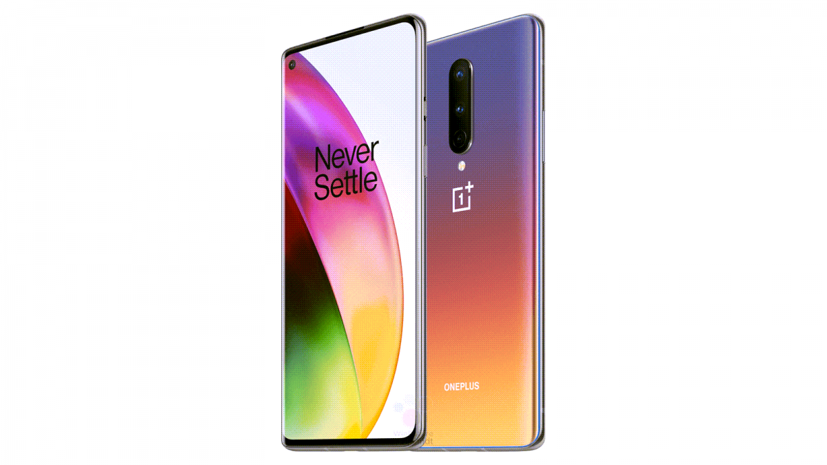 A render of a potential OnePlus 8 phone with shifting colors on the back.