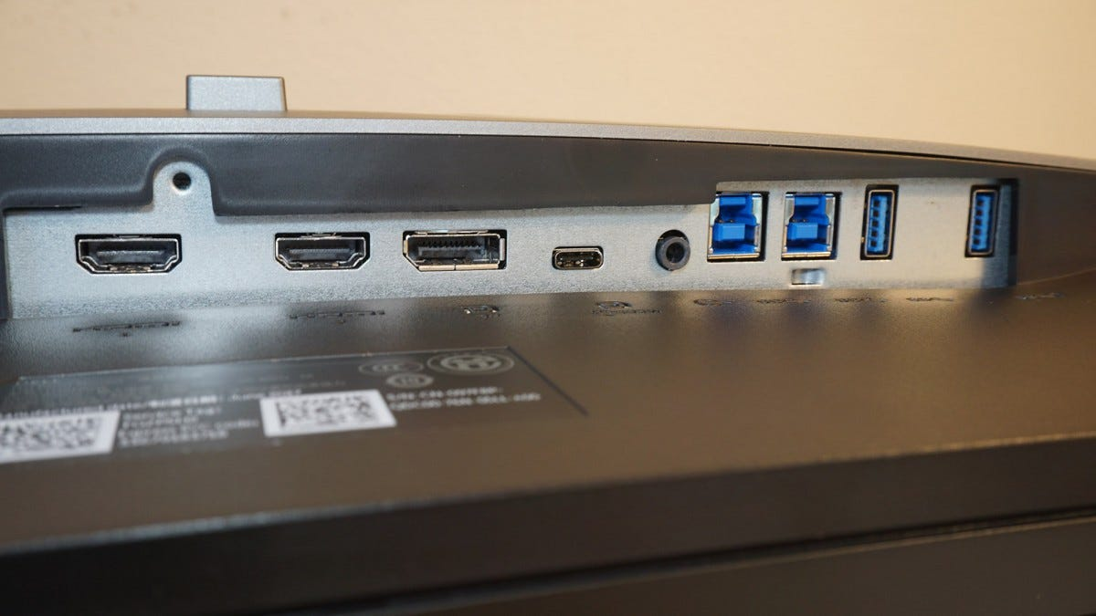 Dell U3818DW bottom inputs.