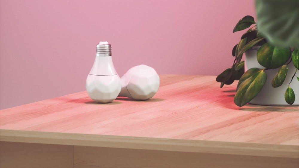 Two smart bulbs with an sharp corned profile.