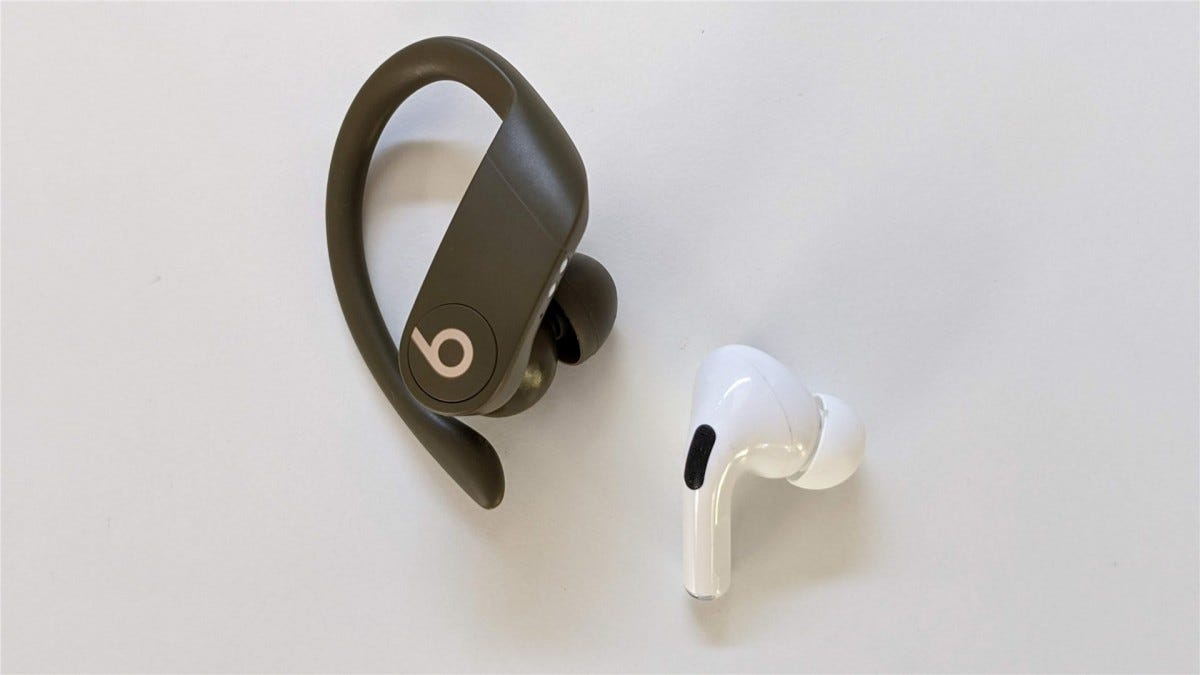 The Powerbeats Pro right earbud next to AirPods Pro right earbud