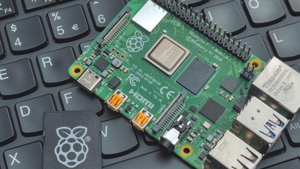 A Pi 4 on a Thinkpad laptop.