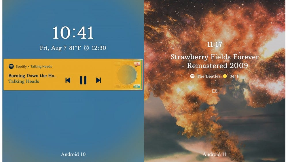 Difference in album artwork (and the lack thereof) on Android 10 side-by-side with Android 11