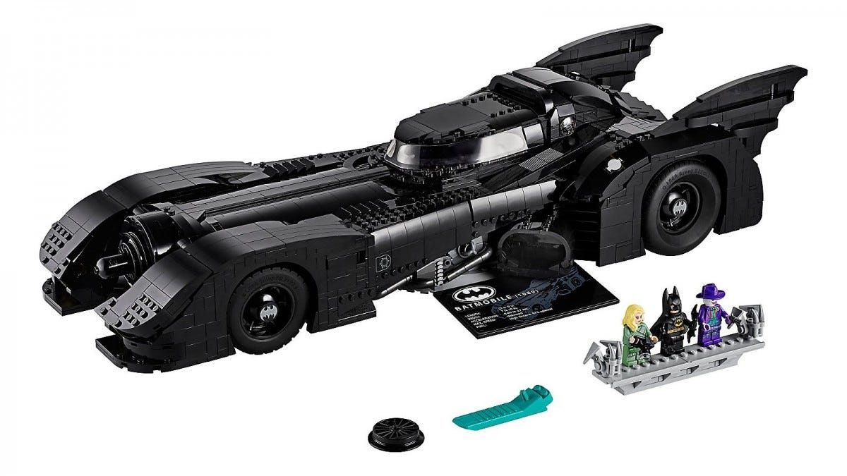 The 1989 Lego Batmobile and Joker, Batman, and Vicky Vale Minifigs.