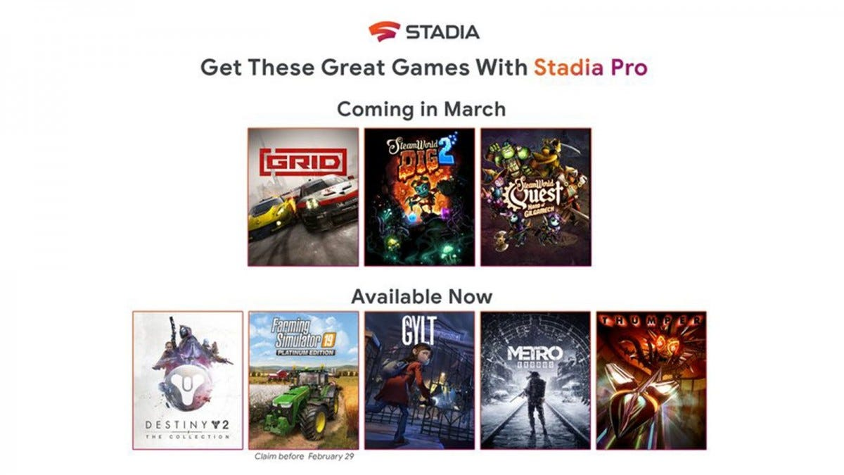 A list of Stadia Pro games, including GRID, SteamWorld Dig 2, SteamWorld Quest, Destiny 2, GYLT,and more.