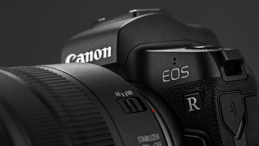 Picture of Canon EOS R Mirrorless Digital Camera with Canon EF 24-105mm f4L IS USM lens on black background.