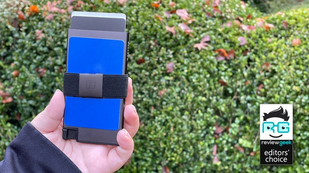Ekster Aluminum Cardholder with bushes in the background