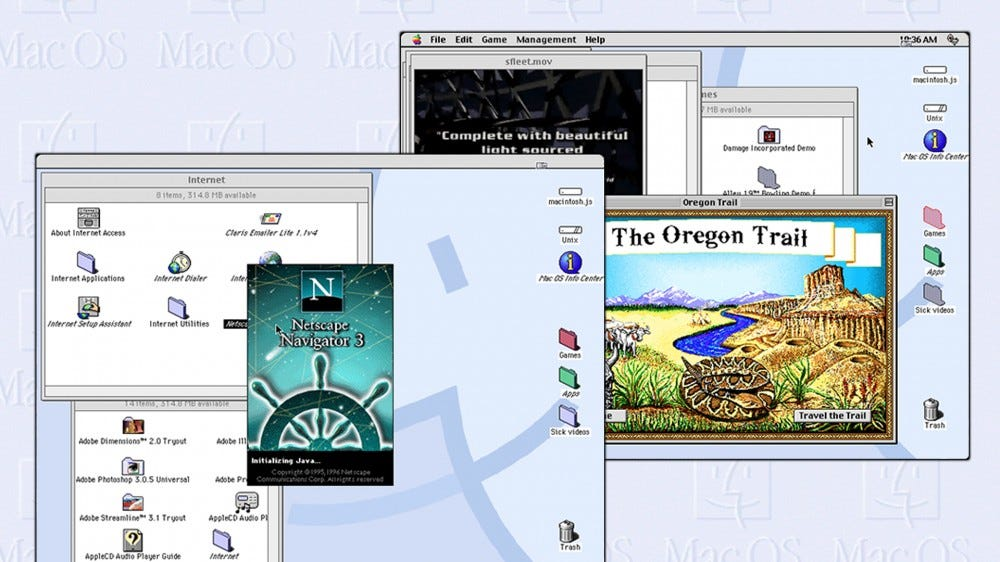 Screenshots of macintosh.js running 'The Oregon Trail' and Netscape Navigator.