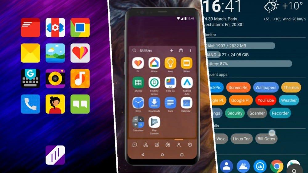Screenshots of Nova Launcher, Smart Launcher 5, and AIO Launcher