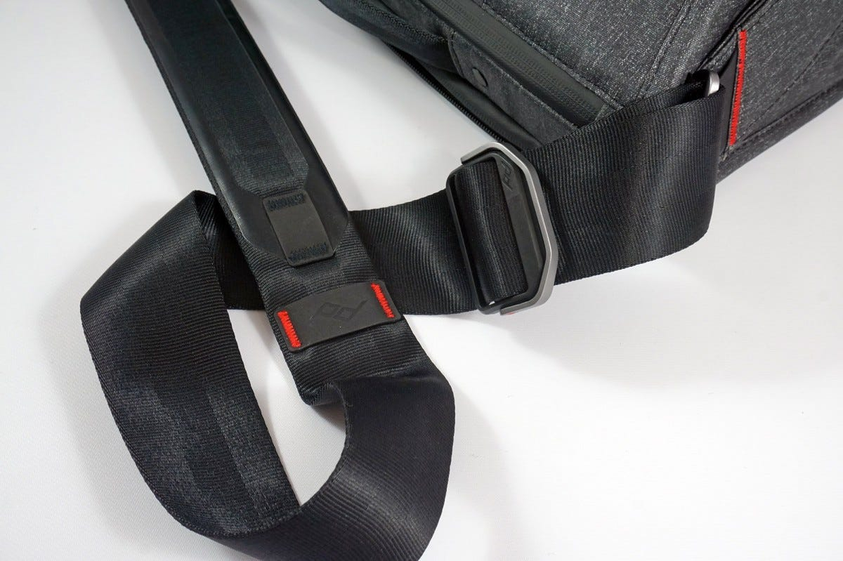 The reversible strap has a built-in pad.
