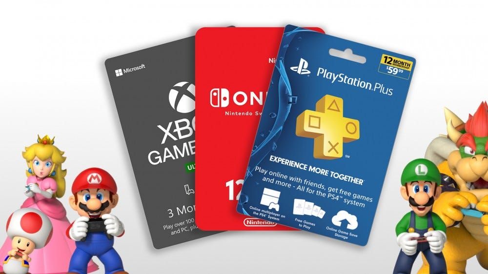 A photo of Mario and friends with gift cards for Switch Online, PS Plus, and Xbox Game Pass.