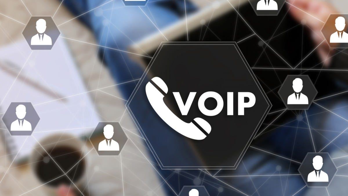 VOIP icon with a web of lines connecting user icons.