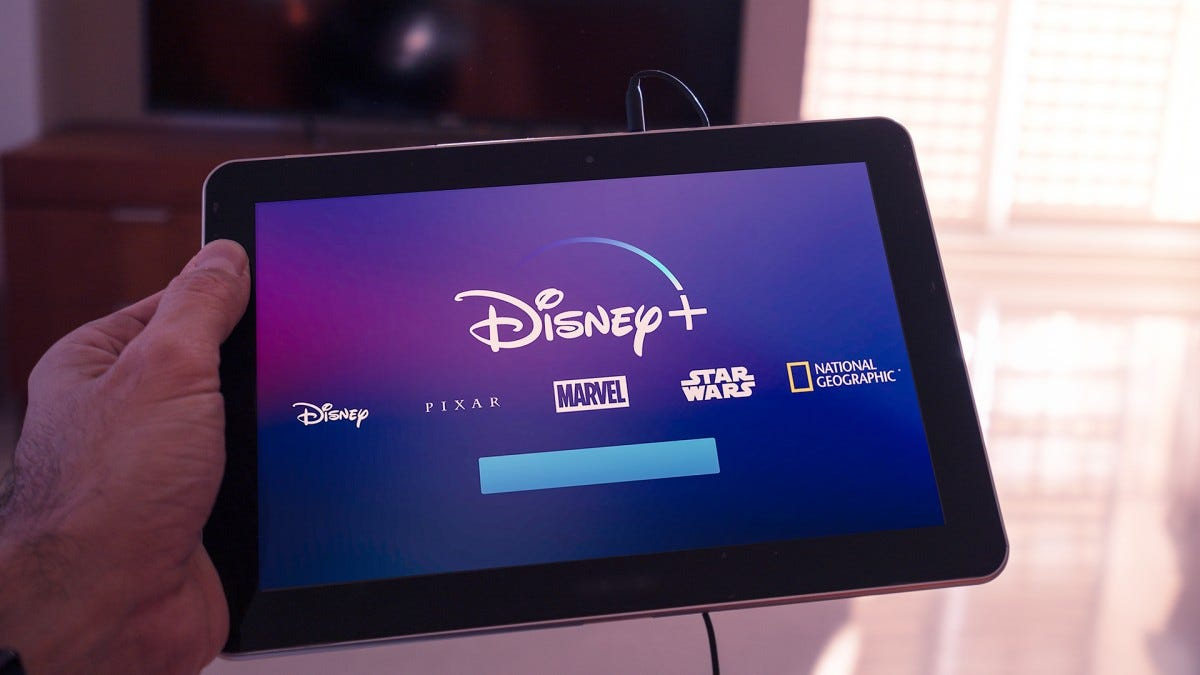 The Disney+ website opened on a tablet.