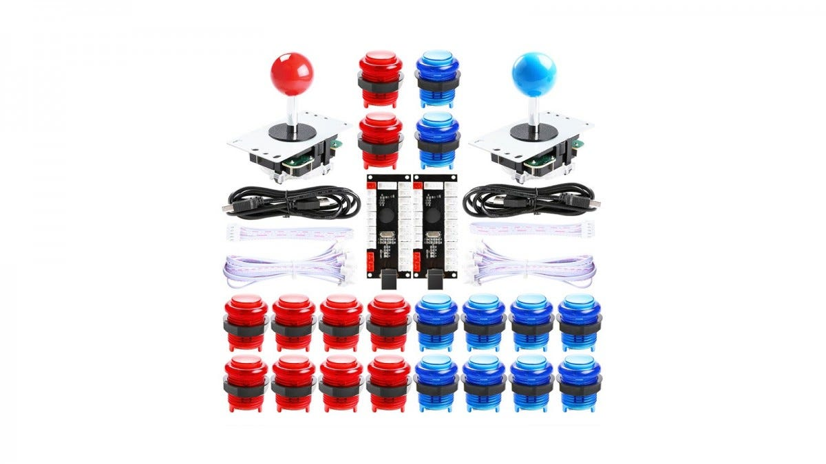 Two joysticks with red and blue ball-toppers, and 20 buttons in blue and red along with wiring.