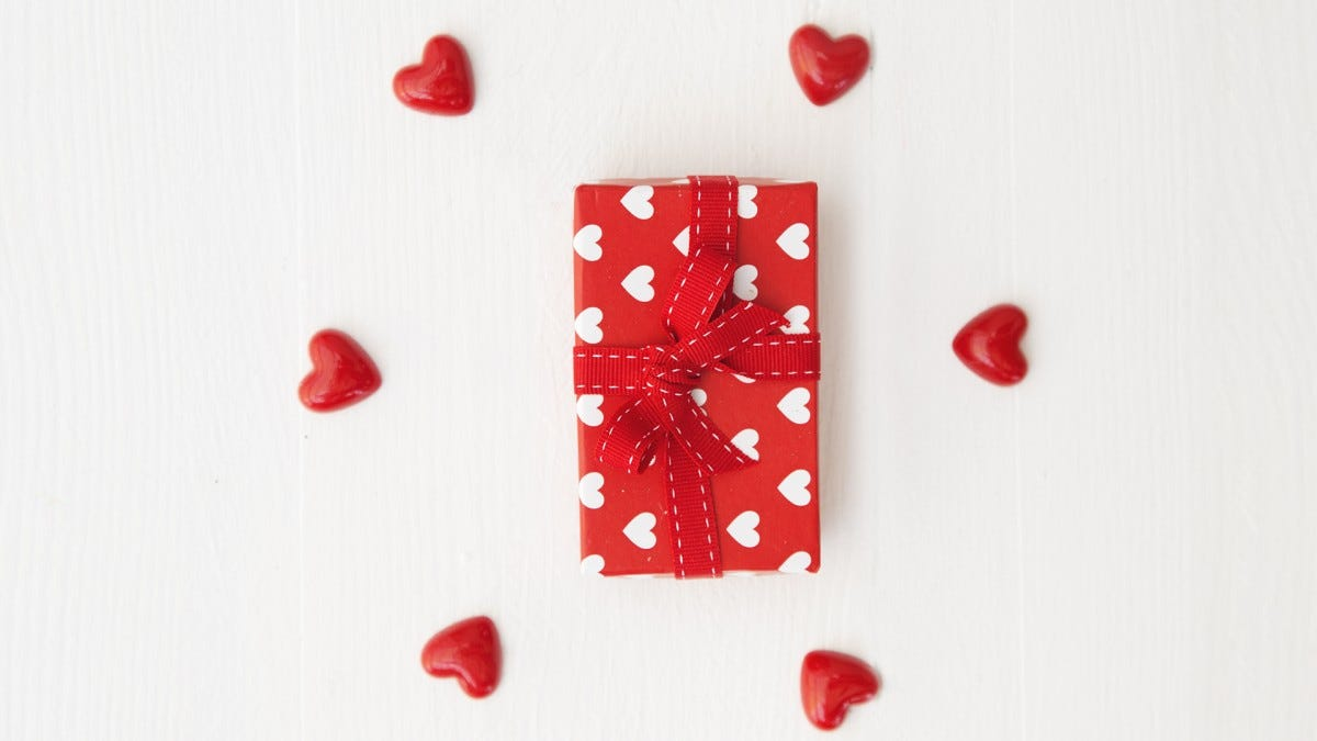 A photo of a wrapped valentine's day present.