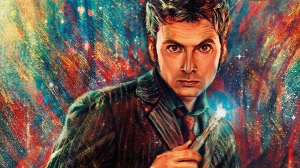 The Tenth Doctor holding a Sonic Screwdriver