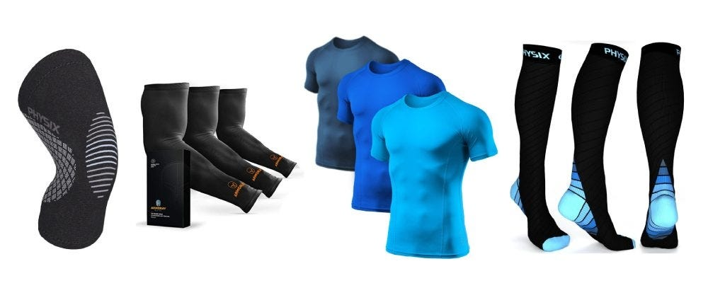 Physix Knee Brace, Armoray Arm Sleeve, Athlio Mens Compression Shirt, and Physix Gear Compression Socks.