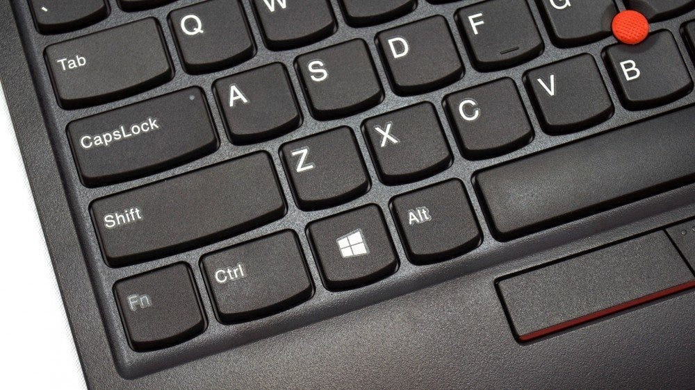 Close-up of a ThinkPad keyboard.