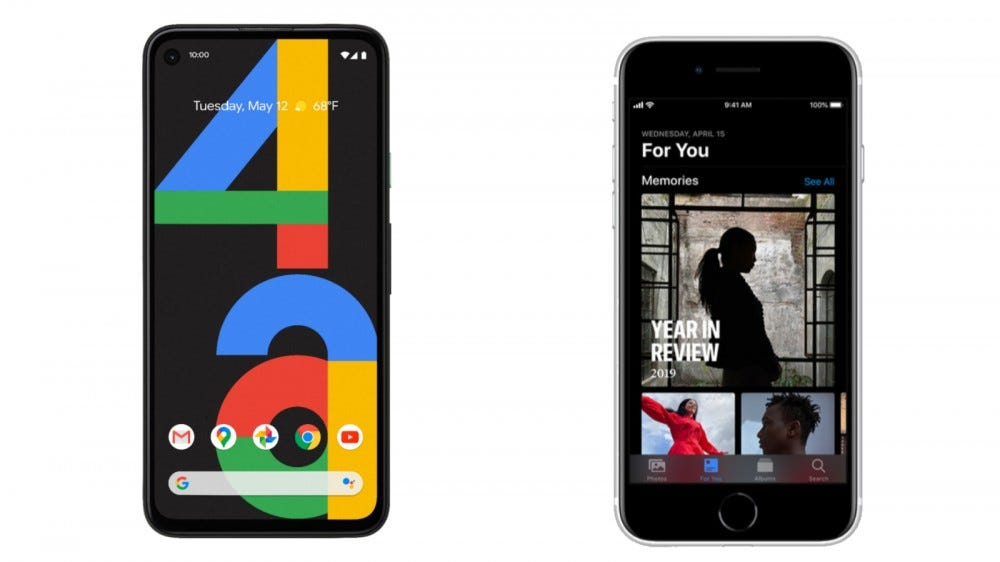 Pixel 4a and iPhone SE Software