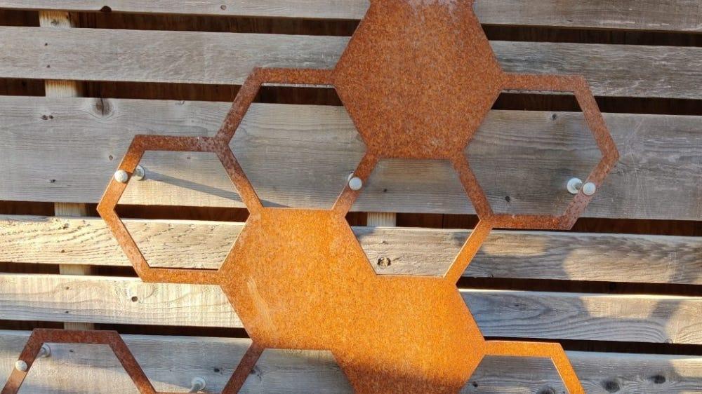 Grid of orange hexagons