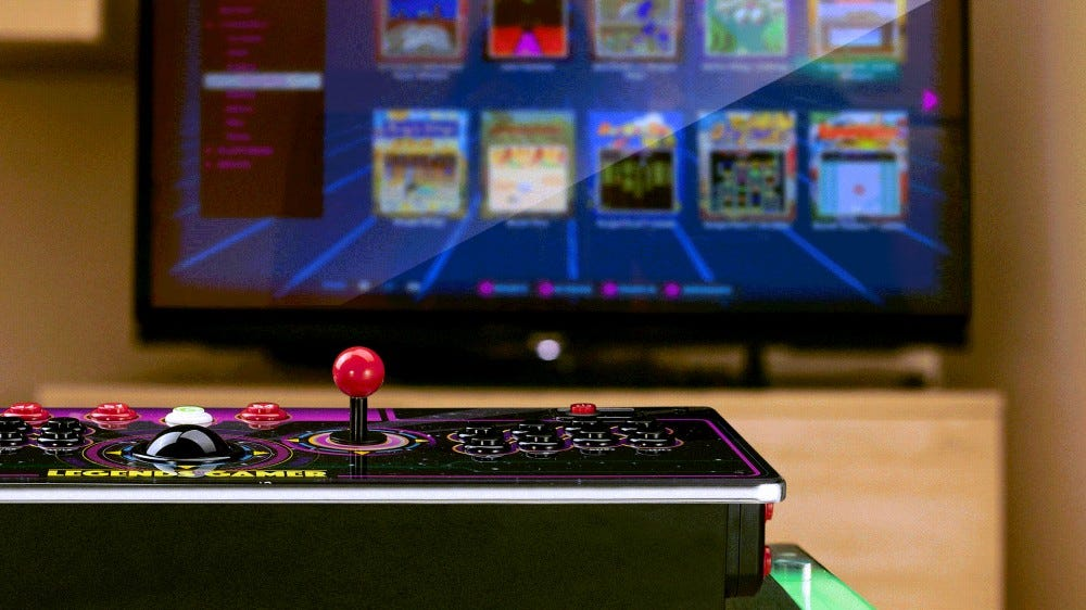 A wireless console that resembles an arcade control deck, connected to a TV
