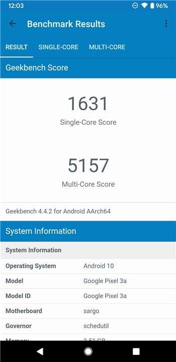 Google Pixel 3a Geekbench score