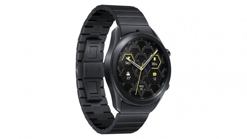 A Samsung Galaxy Watch 3 made of titanium