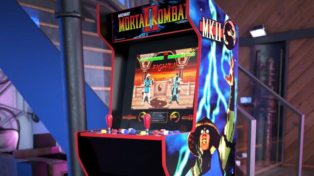 A close-up of a Mortal Kombat arcade machine