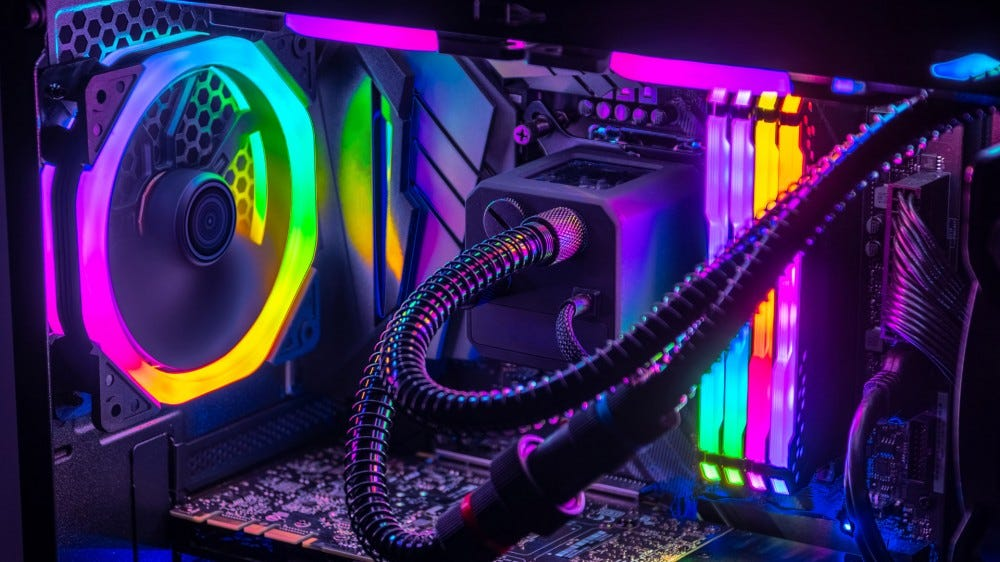 Gaming computer filled with LEDs