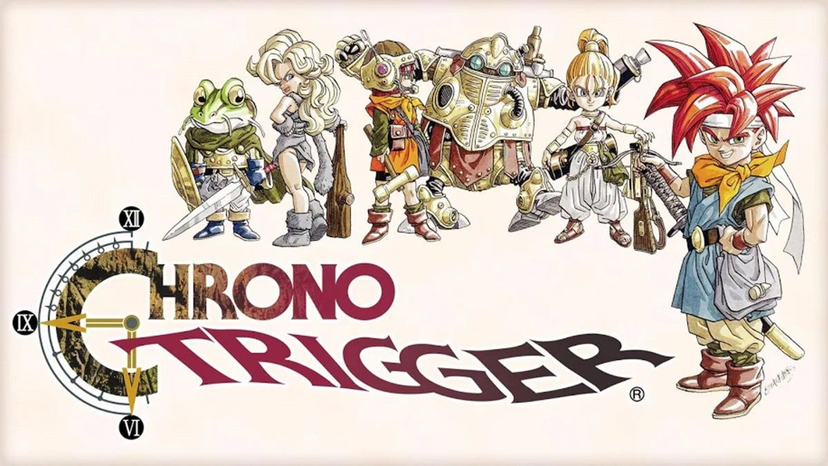 "The cast of ""Chrono Trigger"" over the game logo."