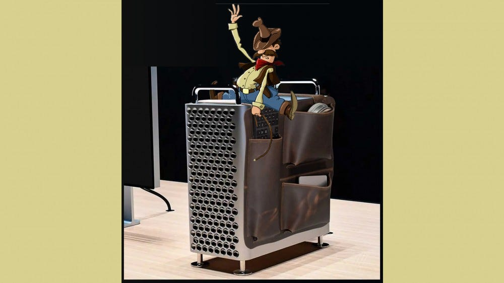 A cowboy riding the WaterField Mac Pro Gear Saddle like a horse.