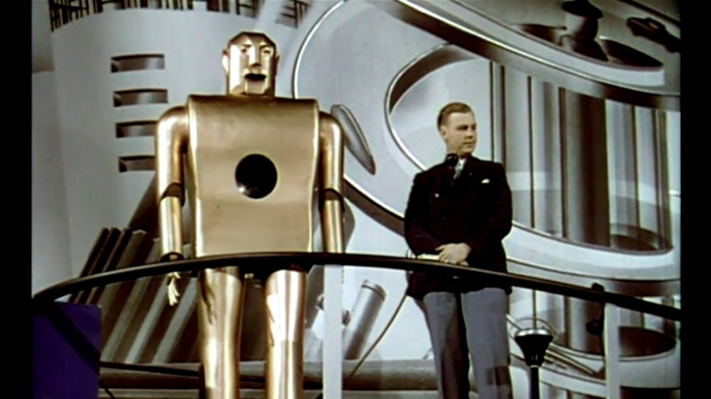 The cigarette-smoking robot from Westinghouse's 1939 World's Fair flick.