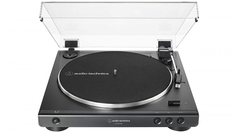 Audio-Technica LP60X budget-friendly turntable for beginners with attached dust cover