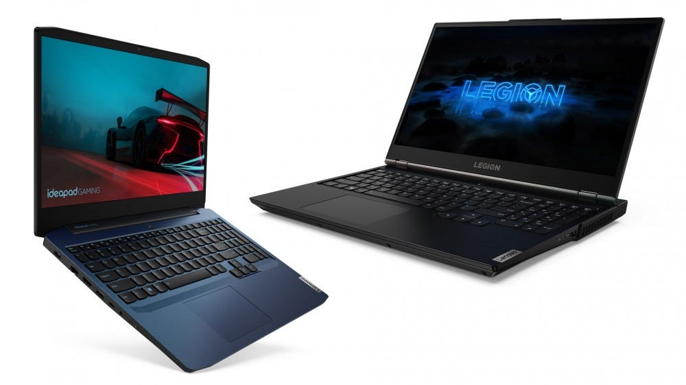 Lenovo Legion 5 and IdeaPad Gaming 3 laptops.