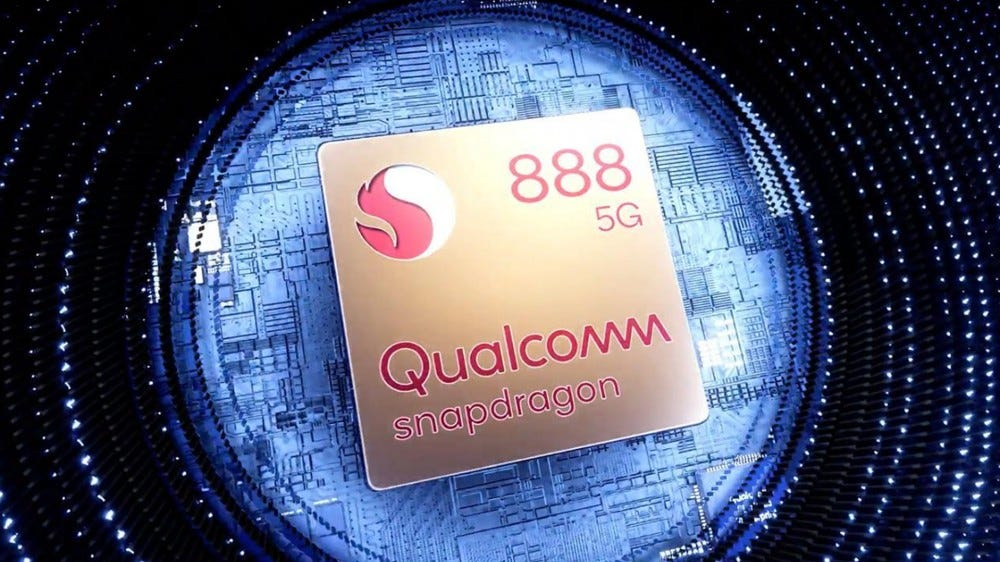 A photo of the Snapdragon 888 5G chip.