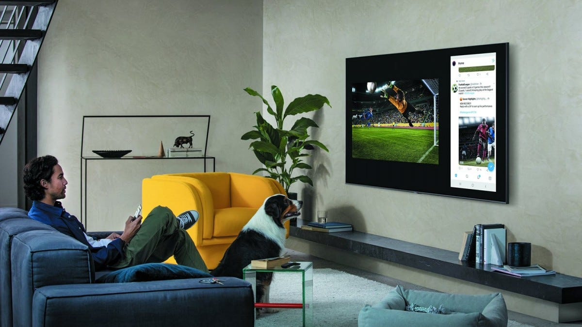 A man and a dog watching a large Samsung Q70T TV