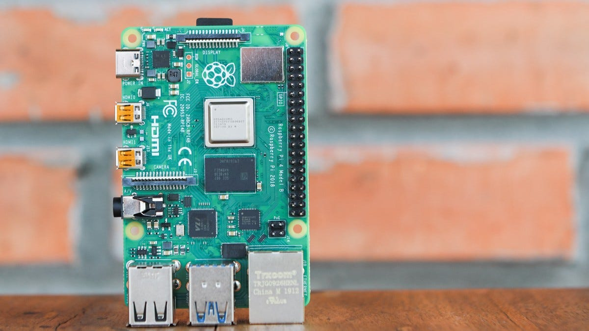 The Pi 4 Model B outside without a case