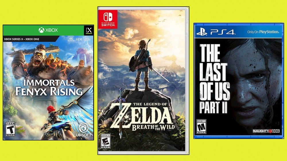 Various video games for Nintendo Switch, PlayStation, and Xbox on yellow background