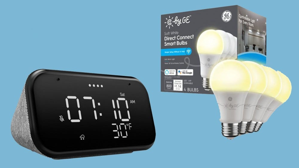 Best Buy deal on Lenovo Smart Clock Essential and CYNC smart bulbs