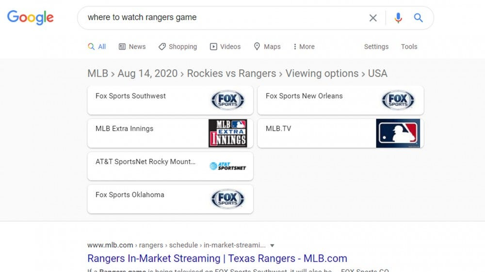 Google sports search result