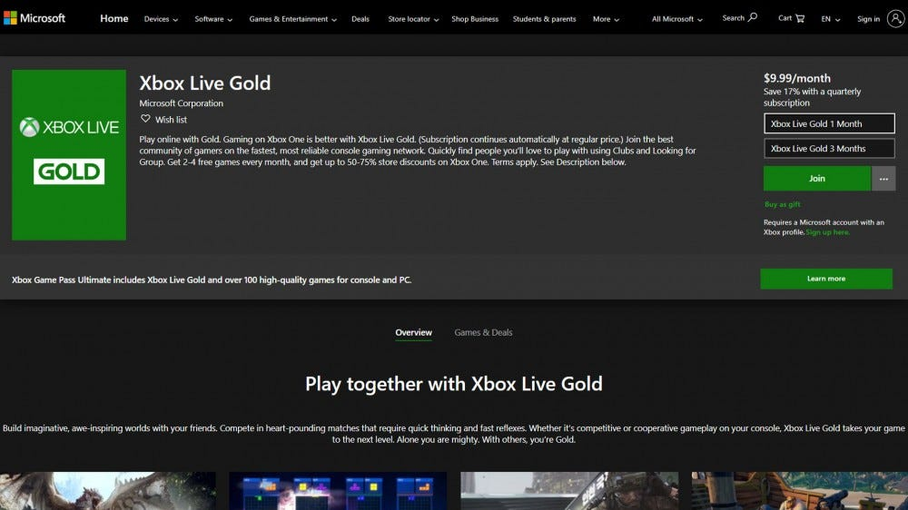 screenshot of Xbox Live website