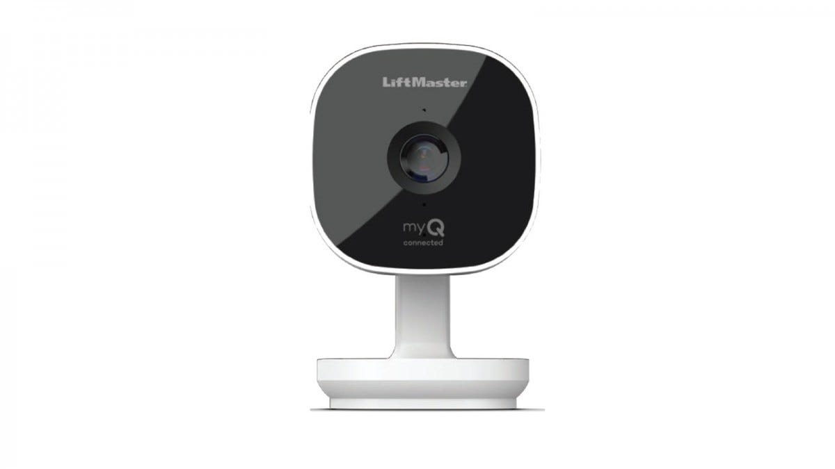 A white LIftMaster camera with a black face.